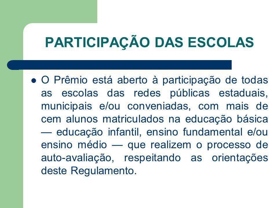 PARTICIPAÇÃO DAS ESCOLAS O Prêmio está aberto à participação de todas as escolas das redes públicas estaduais, municipais e/ou conveniadas, com mais d