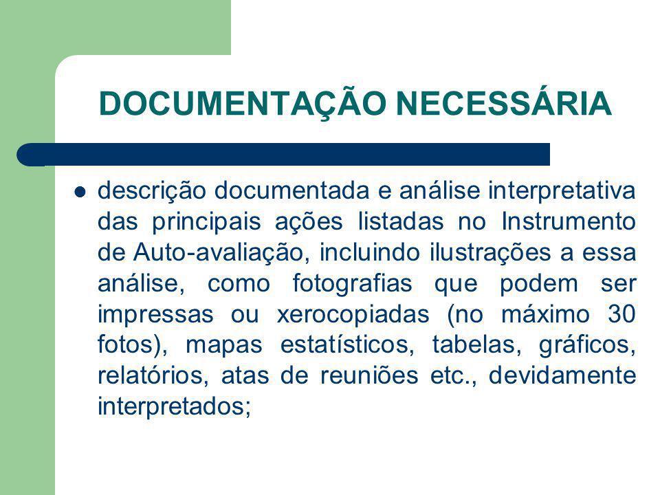 DOCUMENTAÇÃO NECESSÁRIA descrição documentada e análise interpretativa das principais ações listadas no Instrumento de Auto-avaliação, incluindo ilust