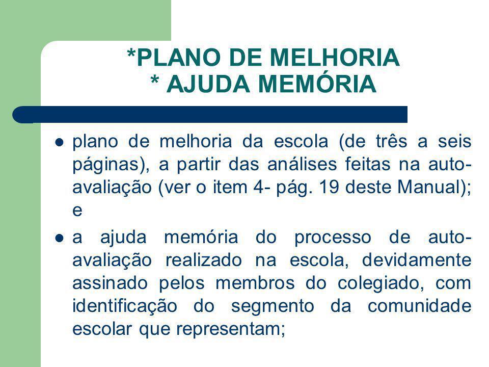 *PLANO DE MELHORIA * AJUDA MEMÓRIA plano de melhoria da escola (de três a seis páginas), a partir das análises feitas na auto- avaliação (ver o item 4