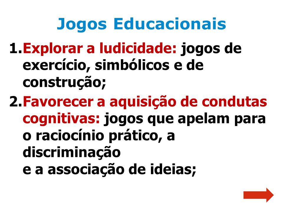 1.Explorar a ludicidade: jogos de exercício, simbólicos e de construção; 2.Favorecer a aquisição de condutas cognitivas: jogos que apelam para o racio