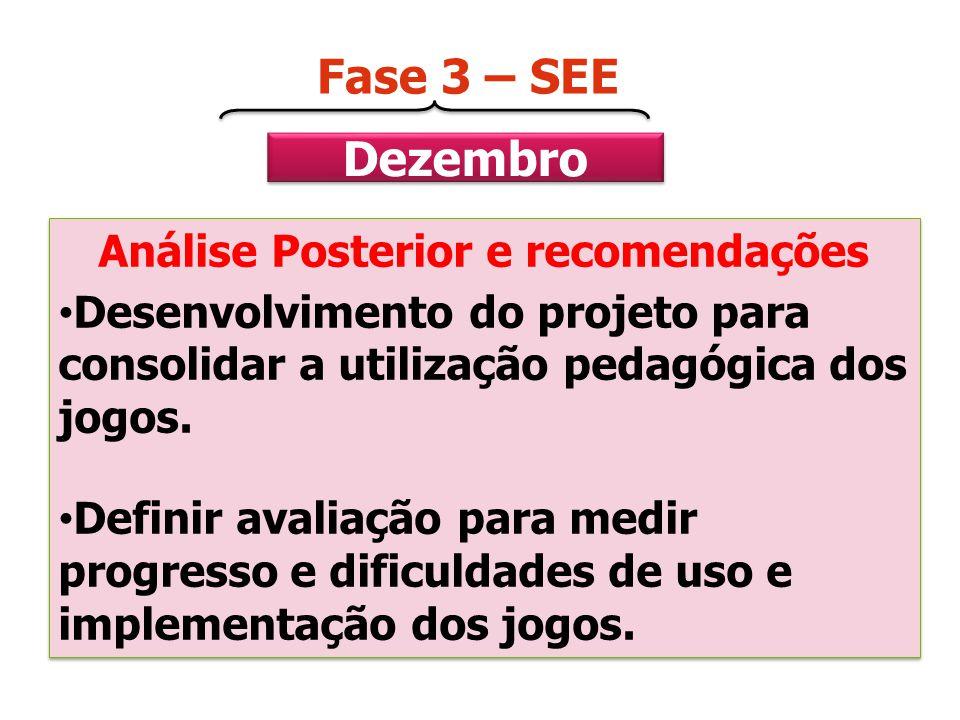 Dezembro Fase 3 – SEE Análise Posterior e recomendações Desenvolvimento do projeto para consolidar a utilização pedagógica dos jogos. Definir avaliaçã