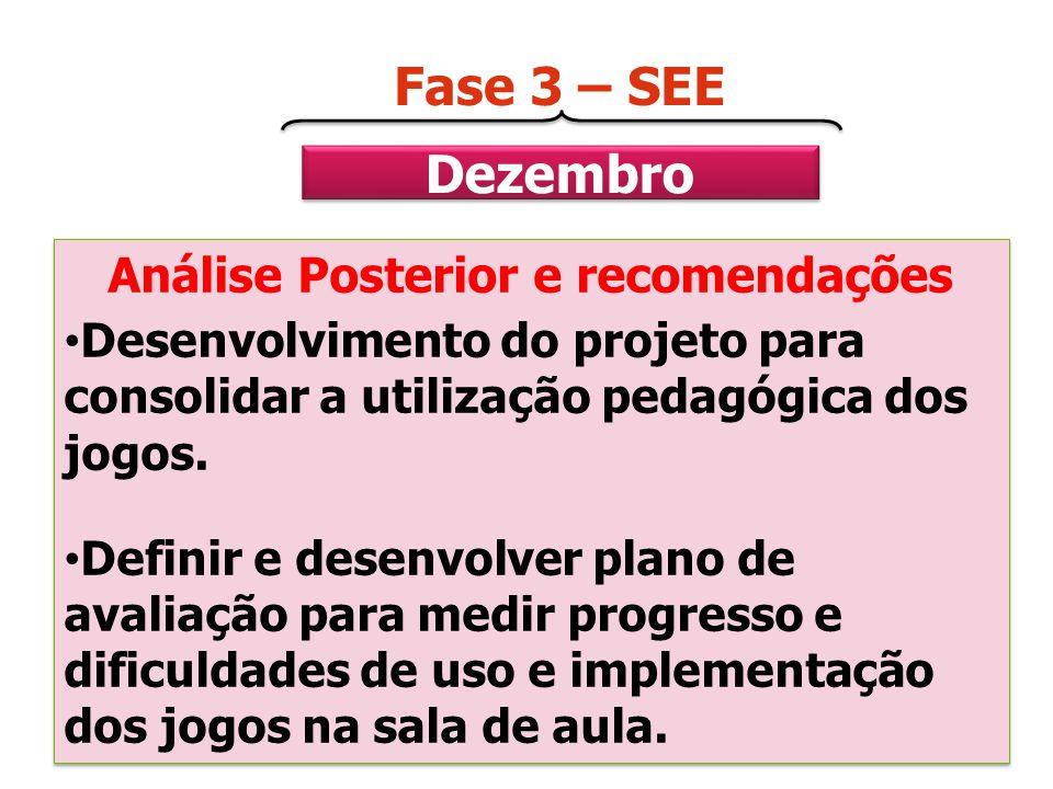 Dezembro Fase 3 – SEE Análise Posterior e recomendações Desenvolvimento do projeto para consolidar a utilização pedagógica dos jogos. Definir e desenv