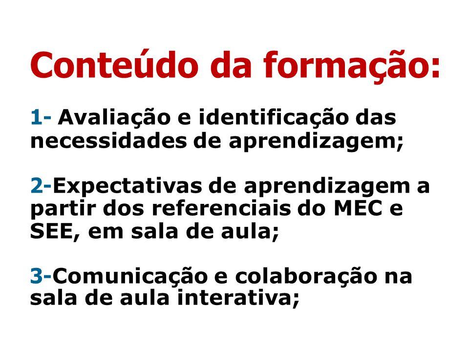 Conteúdo da formação: 1- Avaliação e identificação das necessidades de aprendizagem; 2- Expectativas de aprendizagem a partir dos referenciais do MEC