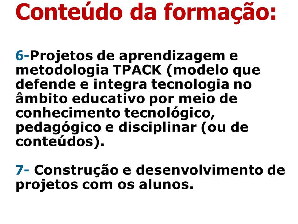 Conteúdo da formação: 6- Projetos de aprendizagem e metodologia TPACK (modelo que defende e integra tecnologia no âmbito educativo por meio de conheci