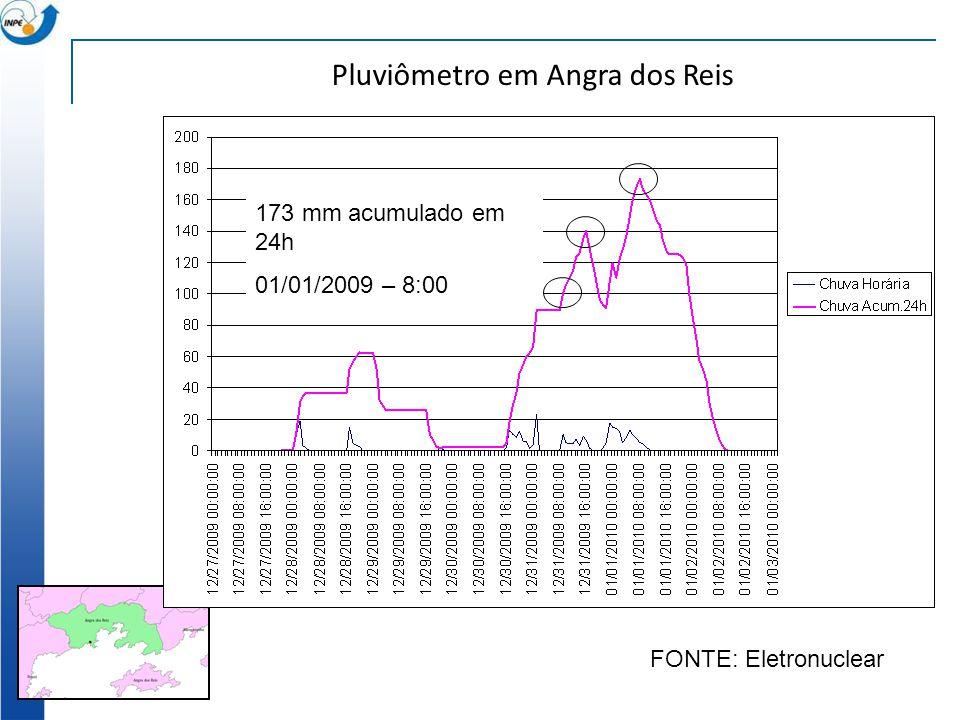 100 mm acumulado em 24h 31/12/2009 – 9:00 140 mm acumulado em 24h 31/12/2009 – 16:00 173 mm acumulado em 24h 01/01/2009 – 8:00 Pluviômetro em Angra do