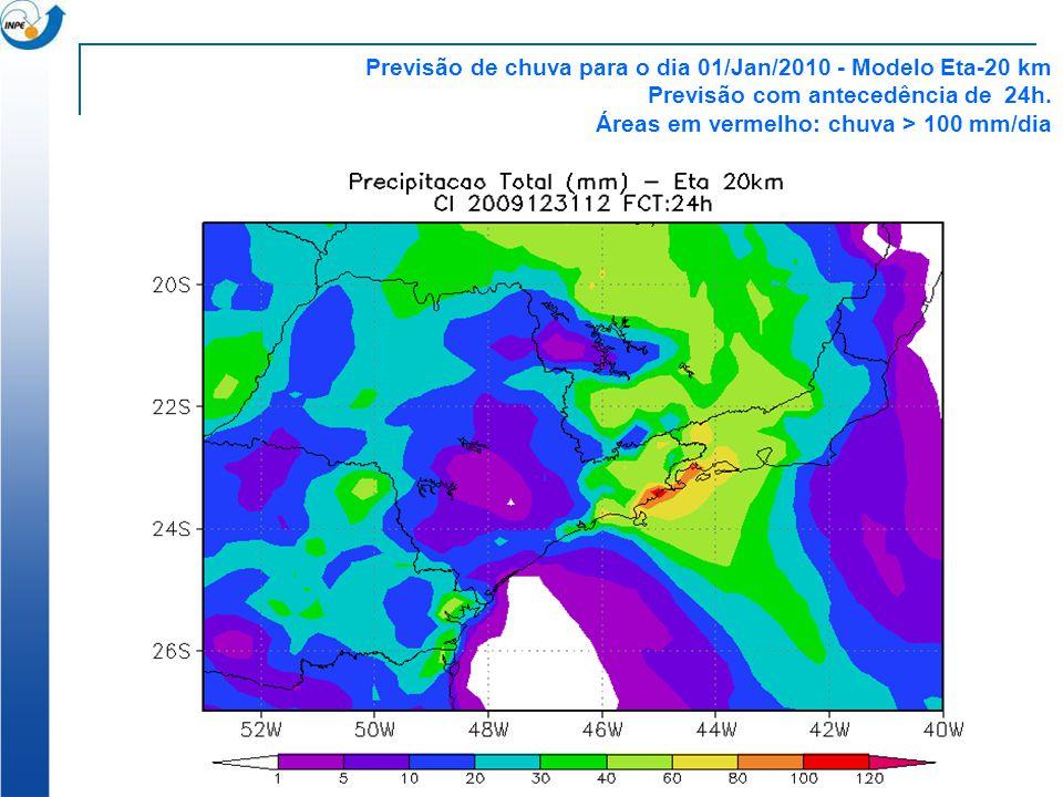 Previsão de chuva para o dia 01/Jan/2010 - Modelo Eta-20 km Previsão com antecedência de 24h. Áreas em vermelho: chuva > 100 mm/dia