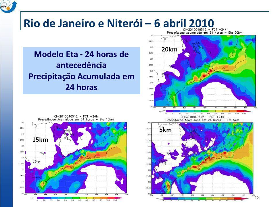 13 20km 5km 15km Modelo Eta - 24 horas de antecedência Precipitação Acumulada em 24 horas Rio de Janeiro e Niterói – 6 abril 2010