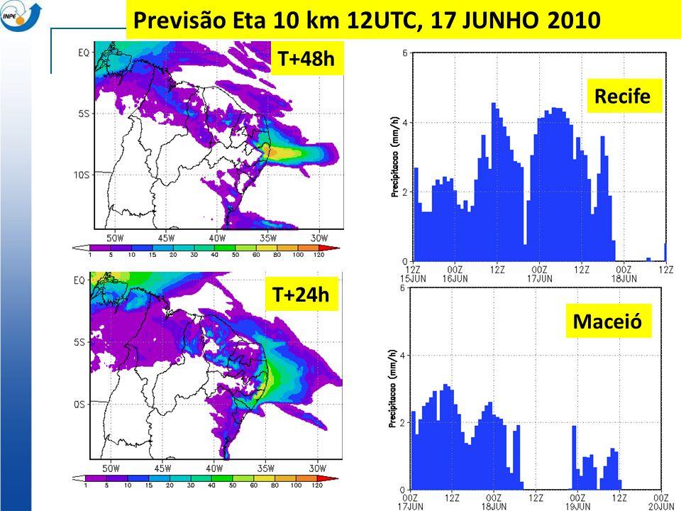 T+24h Previsão Eta 10 km 12UTC, 17 JUNHO 2010 T+48h Recife Maceió