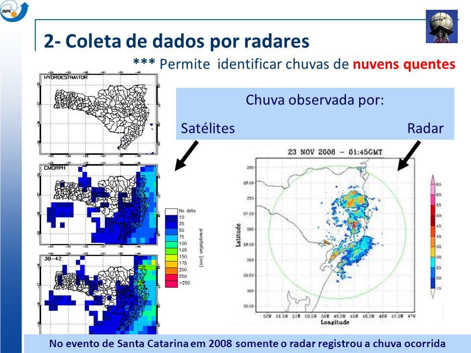 No evento de Santa Catarina em 2008 somente o radar registrou a chuva ocorrida Chuva observada por: Satélites Radar *** Permite identificar chuvas de