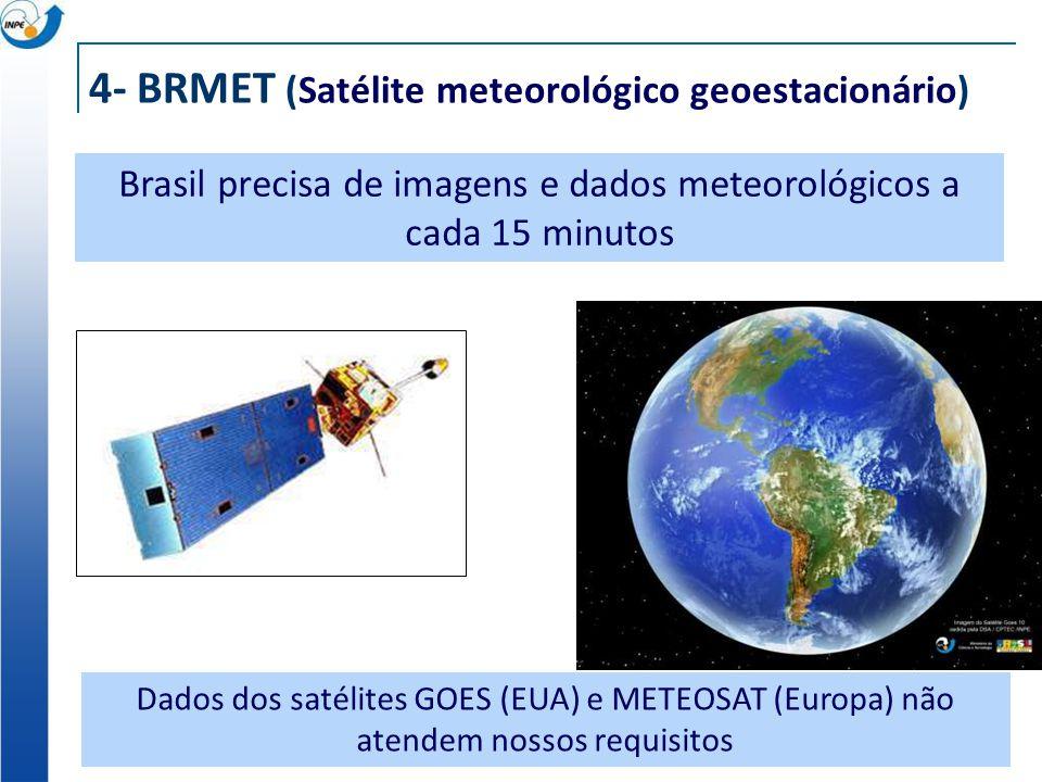 4- BRMET (Satélite meteorológico geoestacionário) Brasil precisa de imagens e dados meteorológicos a cada 15 minutos Dados dos satélites GOES (EUA) e