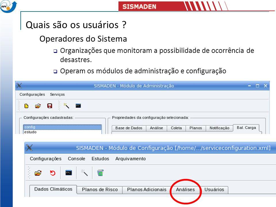 Quais são os usuários ? Operadores do Sistema Organizações que monitoram a possibilidade de ocorrência de desastres. Operam os módulos de administraçã
