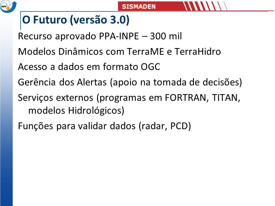 O Futuro (versão 3.0) Recurso aprovado PPA-INPE – 300 mil Modelos Dinâmicos com TerraME e TerraHidro Acesso a dados em formato OGC Gerência dos Alerta