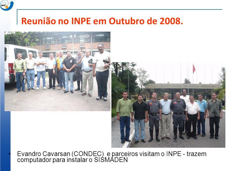 Reunião no INPE em Outubro de 2008. Evandro Cavarsan (CONDEC) e parceiros visitam o INPE - trazem computador para instalar o SISMADEN