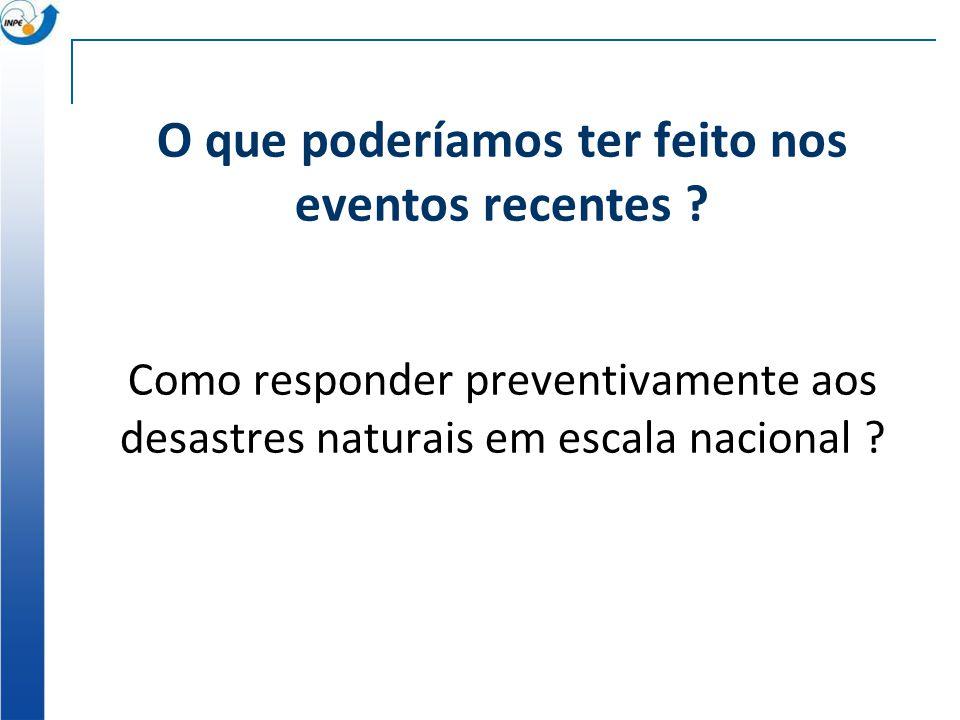 O que poderíamos ter feito nos eventos recentes ? Como responder preventivamente aos desastres naturais em escala nacional ?