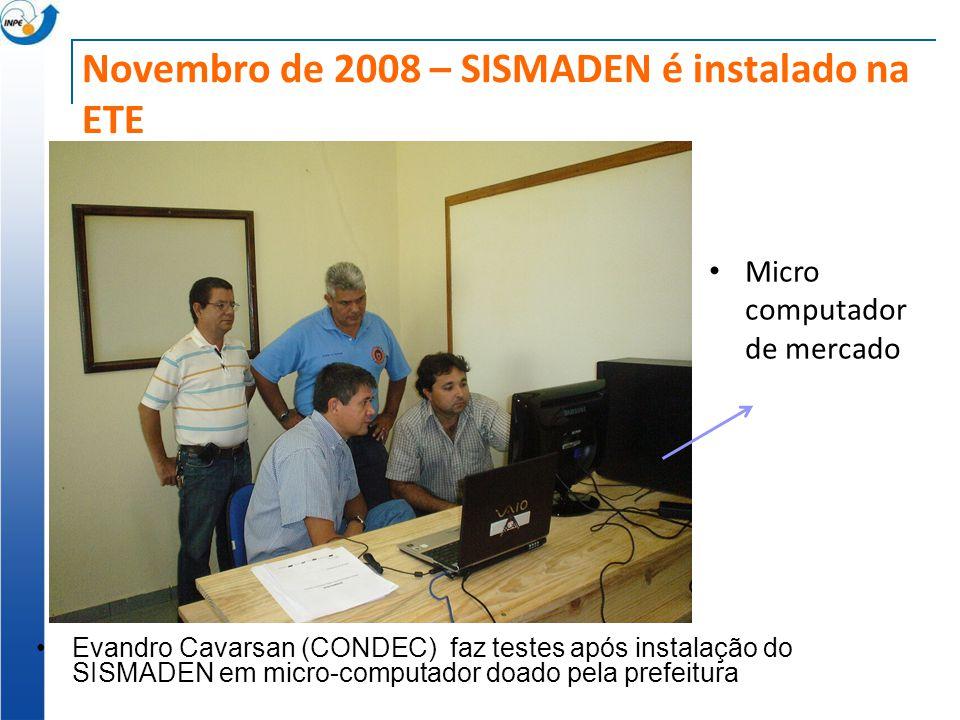Novembro de 2008 – SISMADEN é instalado na ETE Evandro Cavarsan (CONDEC) faz testes após instalação do SISMADEN em micro-computador doado pela prefeit
