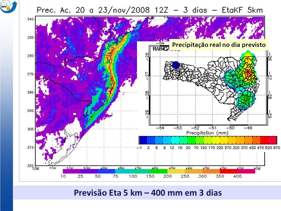 Previsão Eta 5 km – 400 mm em 3 dias Santa Catarina Nov. 2008 Precipitação real no dia previsto