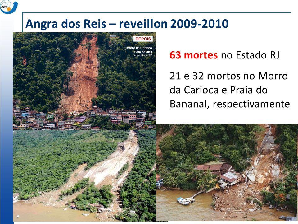 Angra dos Reis – reveillon 2009-2010 63 mortes no Estado RJ 21 e 32 mortos no Morro da Carioca e Praia do Bananal, respectivamente