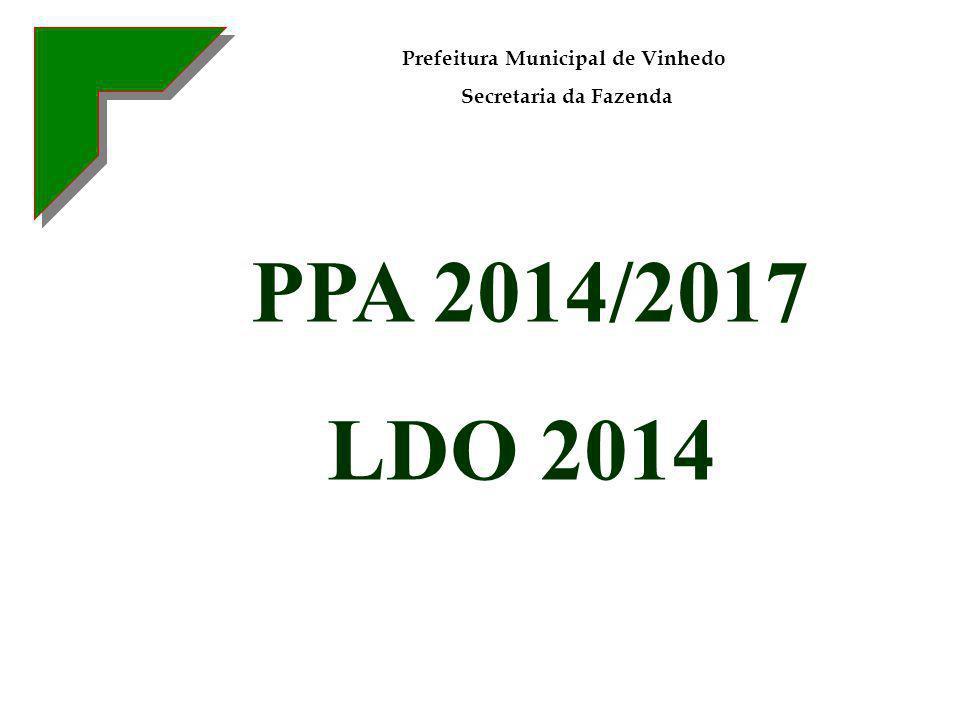 PPA 2014/2017 LDO 2014 Prefeitura Municipal de Vinhedo Secretaria da Fazenda