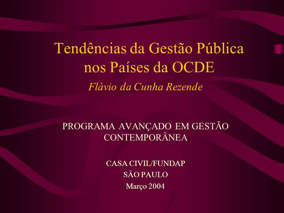 Tendências da Gestão Pública nos Países da OCDE Flávio da Cunha Rezende PROGRAMA AVANÇADO EM GESTÃO CONTEMPORÂNEA CASA CIVIL/FUNDAP SÃO PAULO Março 20