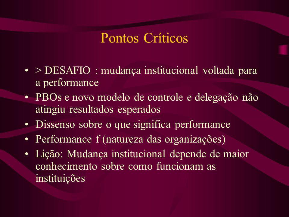 Pontos Críticos > DESAFIO : mudança institucional voltada para a performance PBOs e novo modelo de controle e delegação não atingiu resultados esperad