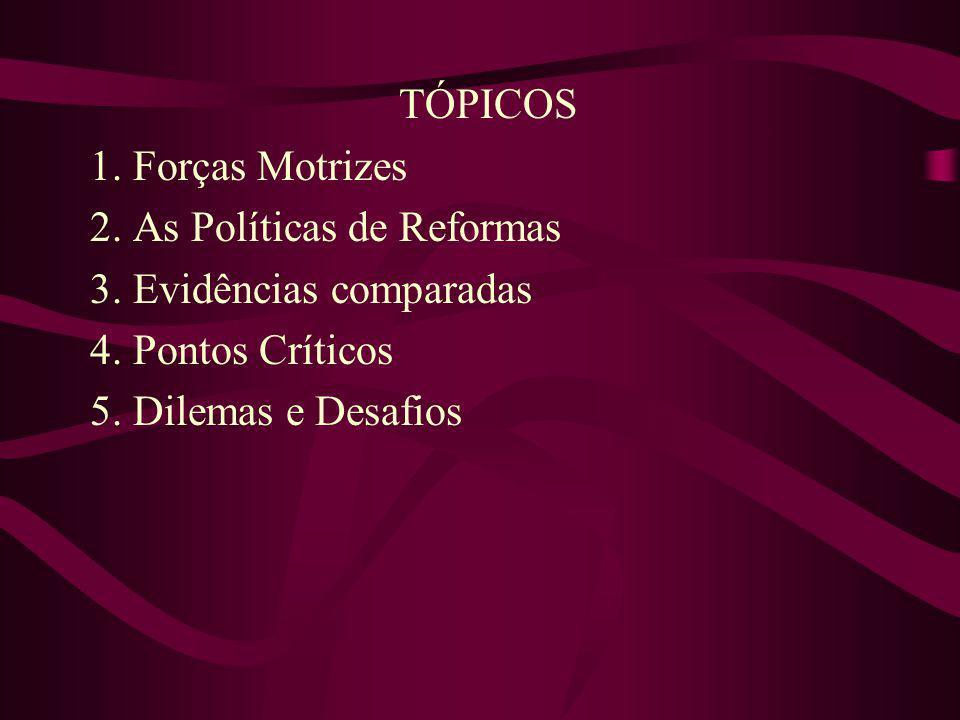 TÓPICOS 1. Forças Motrizes 2. As Políticas de Reformas 3. Evidências comparadas 4. Pontos Críticos 5. Dilemas e Desafios