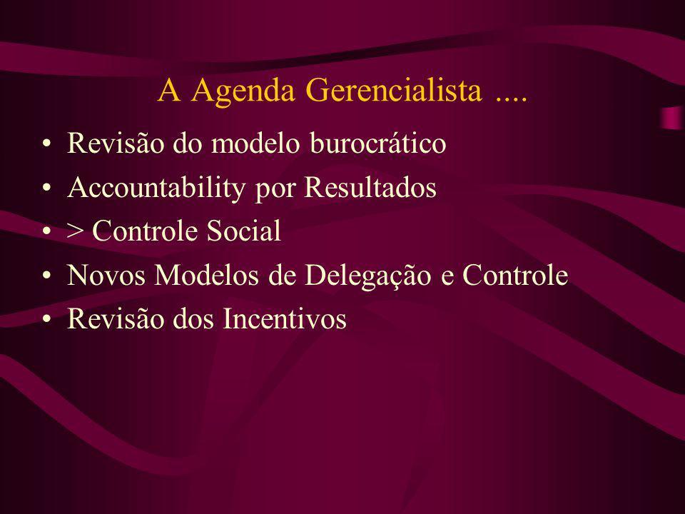 A Agenda Gerencialista.... Revisão do modelo burocrático Accountability por Resultados > Controle Social Novos Modelos de Delegação e Controle Revisão