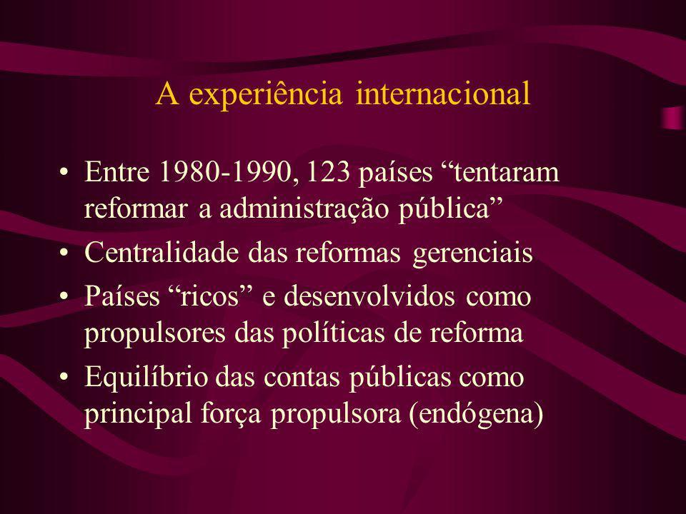 A experiência internacional Entre 1980-1990, 123 países tentaram reformar a administração pública Centralidade das reformas gerenciais Países ricos e
