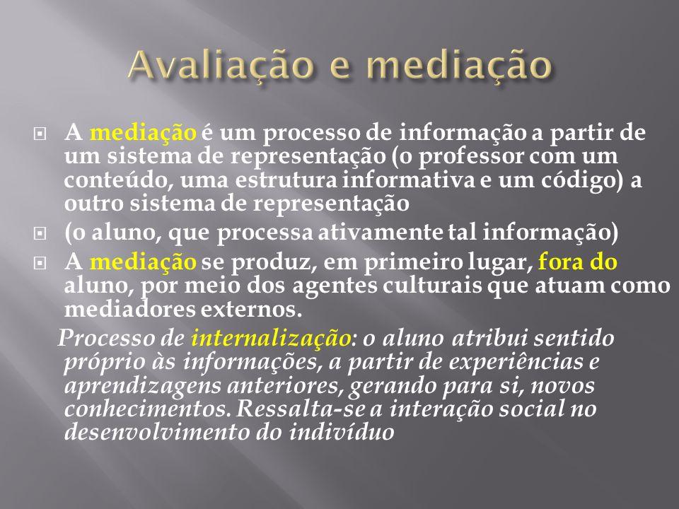 A mediação é um processo de informação a partir de um sistema de representação (o professor com um conteúdo, uma estrutura informativa e um código) a
