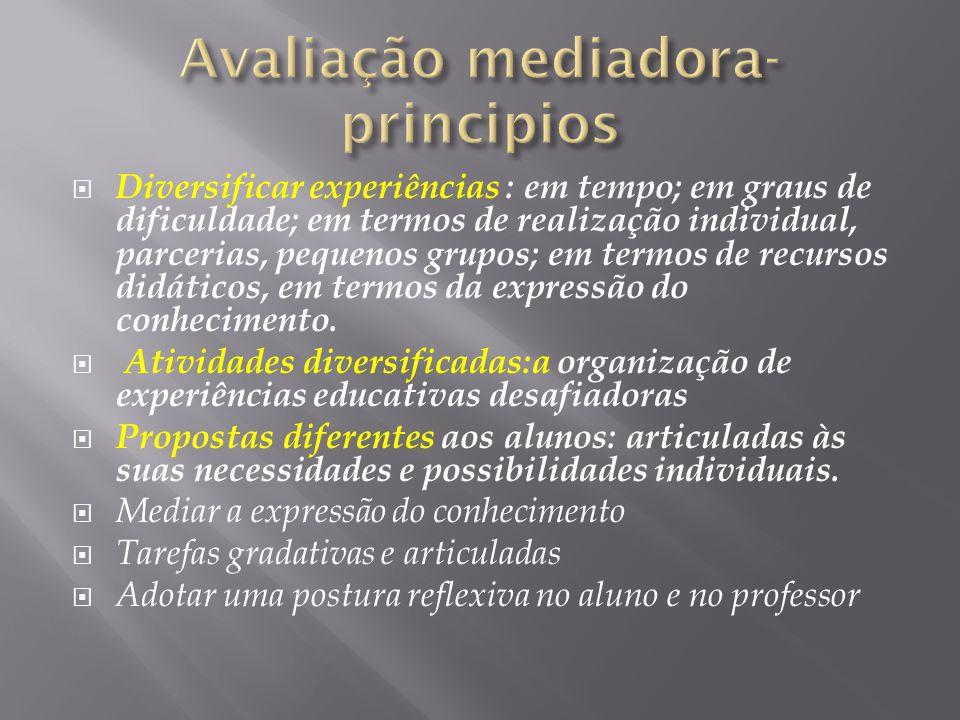 Diversificar experiências : em tempo; em graus de dificuldade; em termos de realização individual, parcerias, pequenos grupos; em termos de recursos d