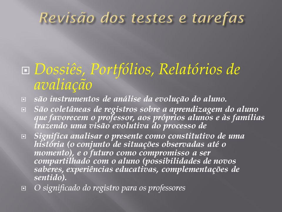 Dossiês, Portfólios, Relatórios de avaliação são instrumentos de análise da evolução do aluno. São coletâneas de registros sobre a aprendizagem do alu