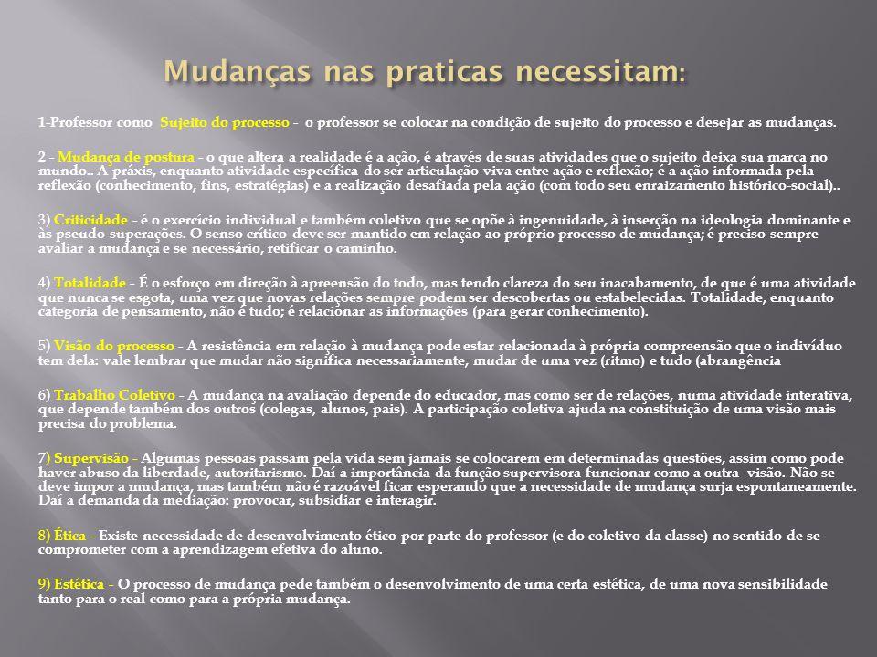 1-Professor como Sujeito do processo - o professor se colocar na condição de sujeito do processo e desejar as mudanças.