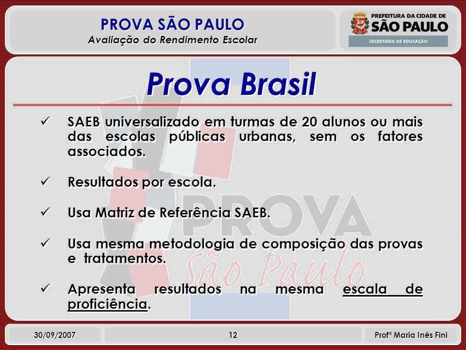 12 PROVA SÃO PAULO Avaliação do Rendimento Escolar 30/09/2007 Profª Maria Inês Fini SAEB universalizado em turmas de 20 alunos ou mais das escolas públicas urbanas, sem os fatores associados.