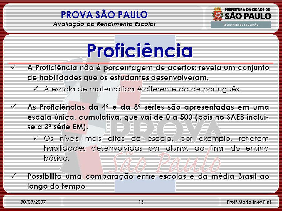 13 PROVA SÃO PAULO Avaliação do Rendimento Escolar 30/09/2007 Profª Maria Inês Fini A Proficiência não é porcentagem de acertos: revela um conjunto de habilidades que os estudantes desenvolveram.
