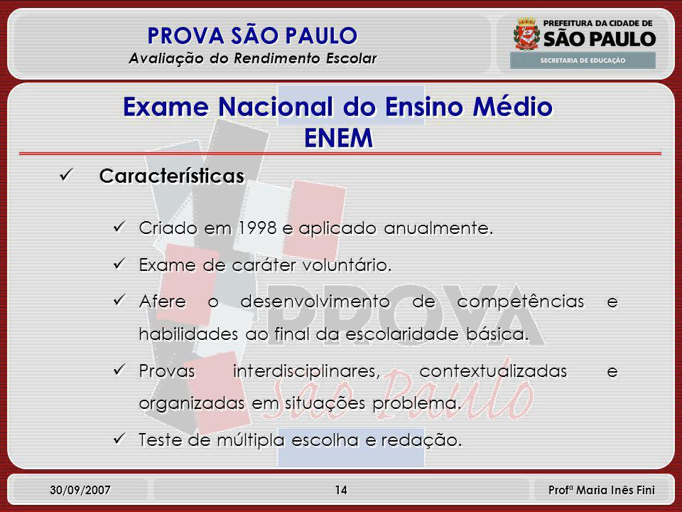 14 PROVA SÃO PAULO Avaliação do Rendimento Escolar 30/09/2007 Profª Maria Inês Fini Características Criado em 1998 e aplicado anualmente.