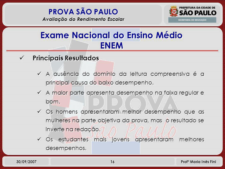 16 PROVA SÃO PAULO Avaliação do Rendimento Escolar 30/09/2007 Profª Maria Inês Fini Principais Resultados A ausência do domínio da leitura compreensiva é a principal causa do baixo desempenho.