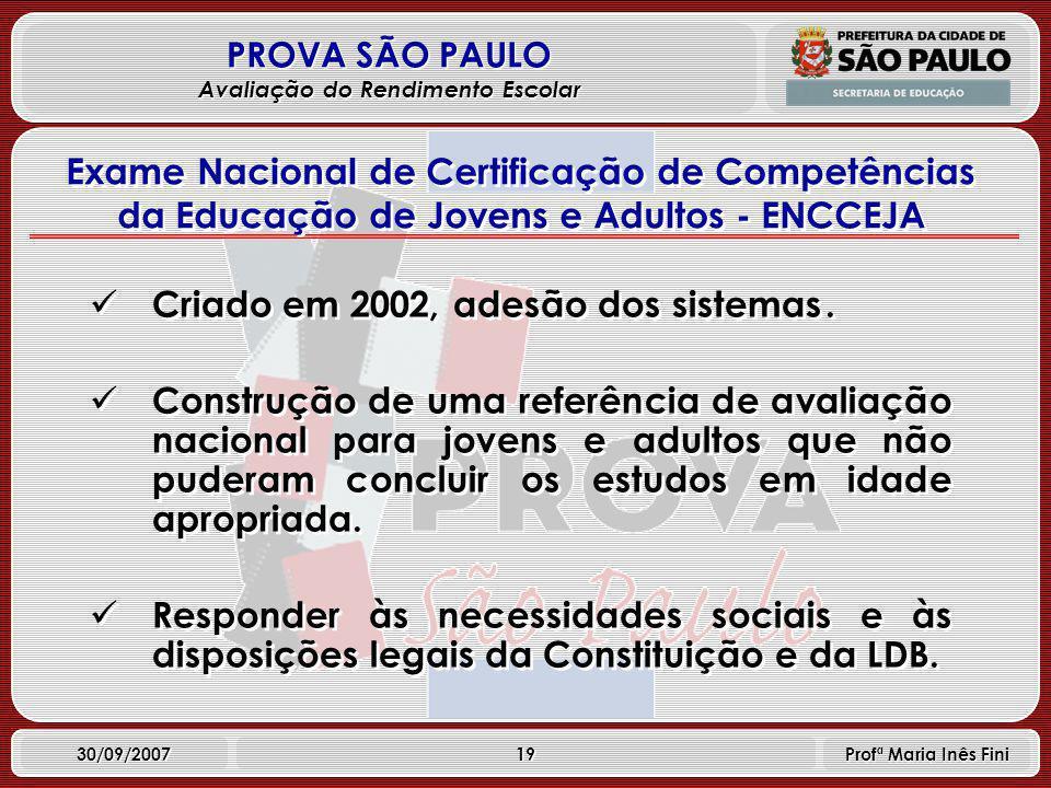 19 PROVA SÃO PAULO Avaliação do Rendimento Escolar 30/09/2007 Profª Maria Inês Fini Criado em 2002, adesão dos sistemas.