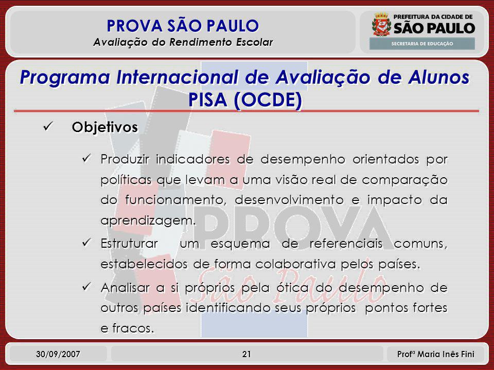 21 PROVA SÃO PAULO Avaliação do Rendimento Escolar 30/09/2007 Profª Maria Inês Fini Objetivos Produzir indicadores de desempenho orientados por políticas que levam a uma visão real de comparação do funcionamento, desenvolvimento e impacto da aprendizagem.