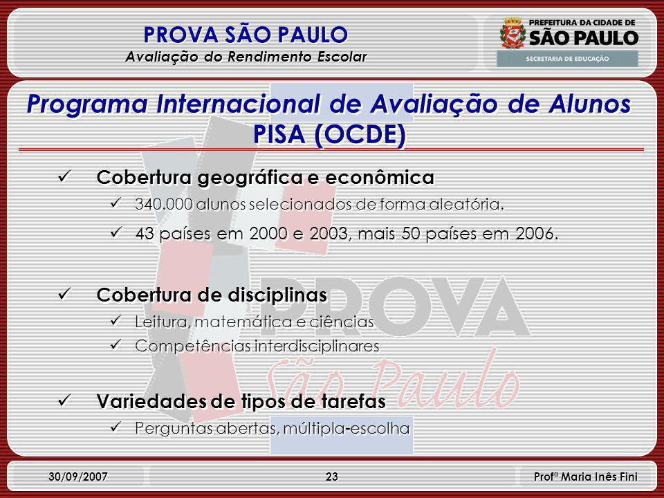 23 PROVA SÃO PAULO Avaliação do Rendimento Escolar 30/09/2007 Profª Maria Inês Fini Cobertura geográfica e econômica 340.000 alunos selecionados de forma aleatória.