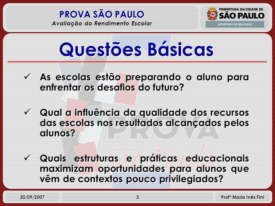3 PROVA SÃO PAULO Avaliação do Rendimento Escolar 30/09/2007 Profª Maria Inês Fini Questões Básicas As escolas estão preparando o aluno para enfrentar os desafios do futuro.
