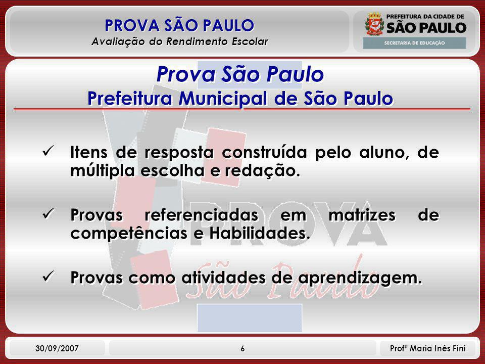 17 PROVA SÃO PAULO Avaliação do Rendimento Escolar 30/09/2007 Profª Maria Inês Fini Principais Resultados (continuação) Participantes que freqüentavam o ensino médio exclusivamente no turno diurno tiveram melhor desempenho.