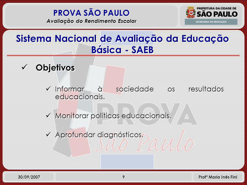 9 PROVA SÃO PAULO Avaliação do Rendimento Escolar 30/09/2007 Profª Maria Inês Fini Objetivos Informar à sociedade os resultados educacionais.