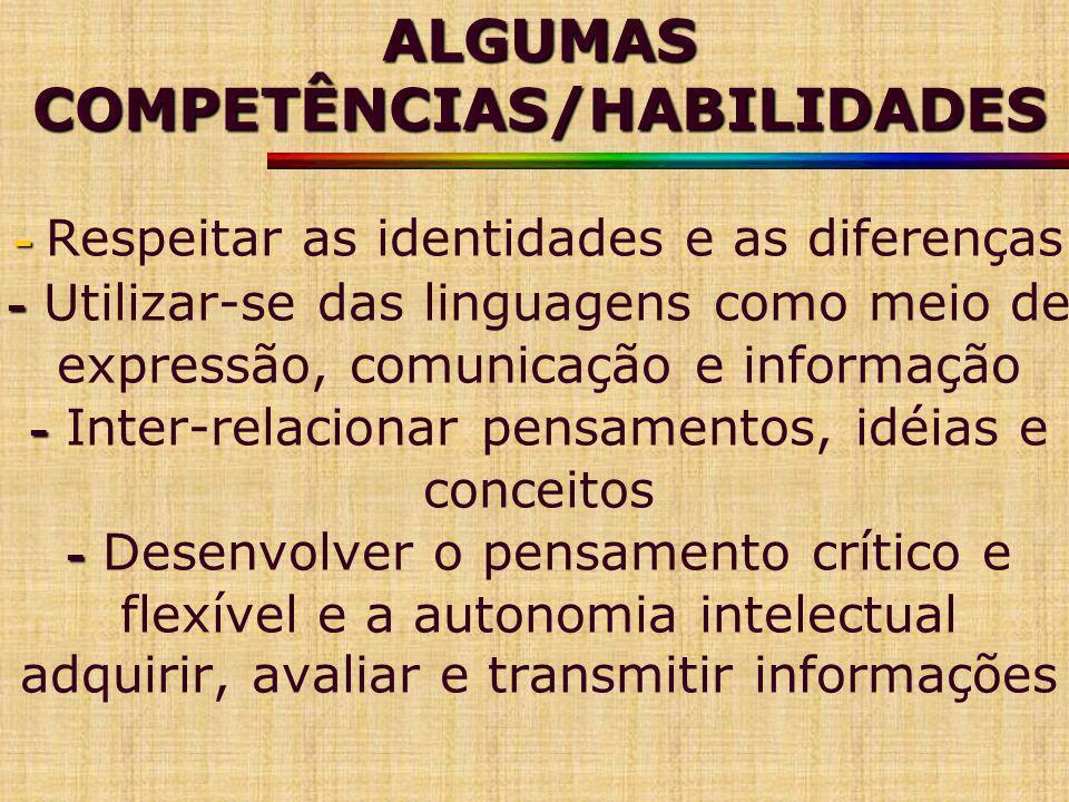 ALGUMAS COMPETÊNCIAS/HABILIDADES - - - - ALGUMAS COMPETÊNCIAS/HABILIDADES - Respeitar as identidades e as diferenças - Utilizar-se das linguagens como