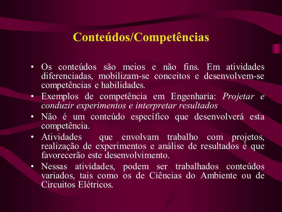 Conteúdos/Competências Os conteúdos são meios e não fins. Em atividades diferenciadas, mobilizam-se conceitos e desenvolvem-se competências e habilida