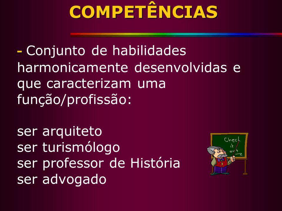 COMPETÊNCIAS - COMPETÊNCIAS - Conjunto de habilidades harmonicamente desenvolvidas e que caracterizam uma função/profissão: ser arquiteto ser turismól