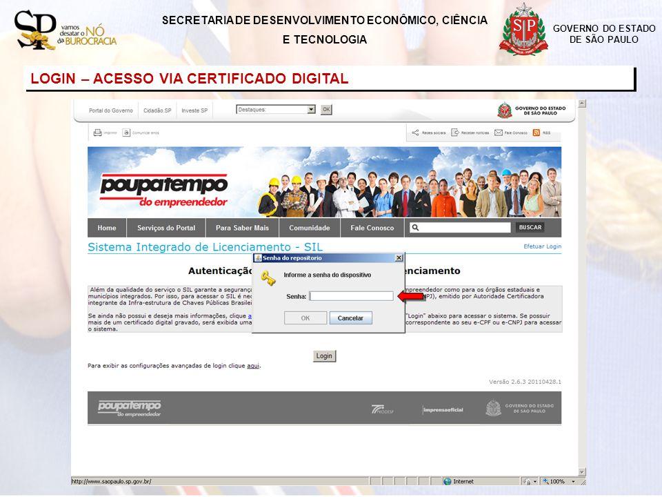 LOGIN – ACESSO VIA CERTIFICADO DIGITAL SECRETARIA DE DESENVOLVIMENTO ECONÔMICO, CIÊNCIA E TECNOLOGIA GOVERNO DO ESTADO DE SÃO PAULO