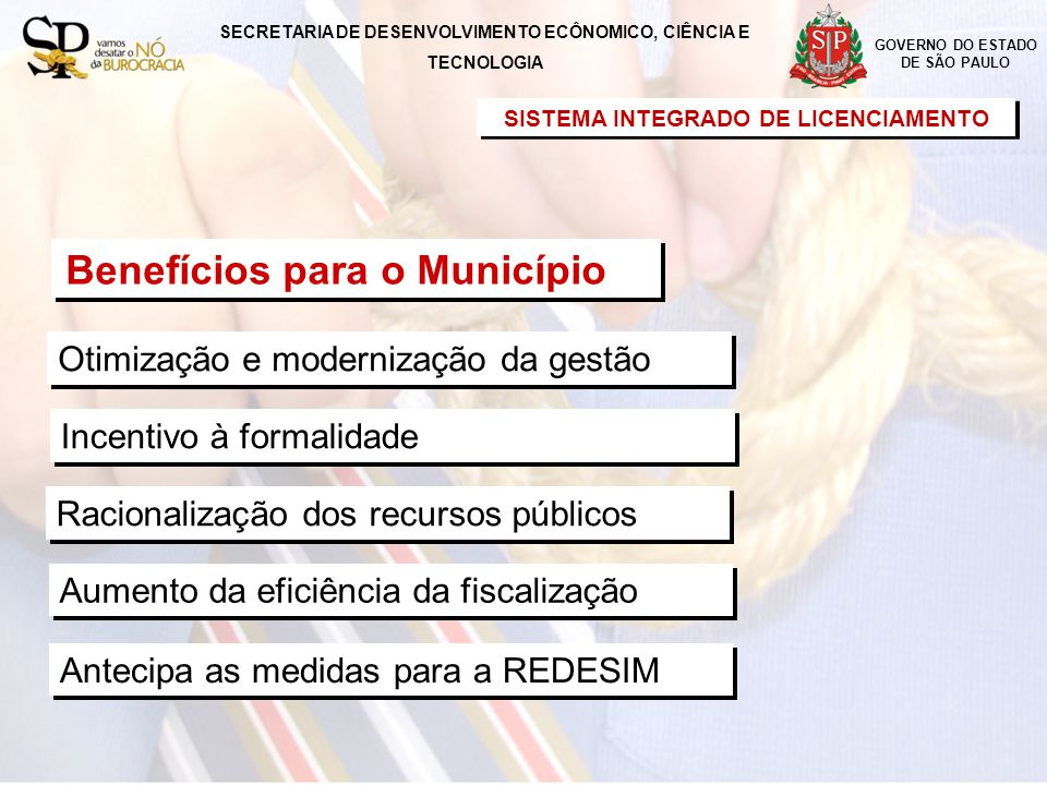 Incentivo à formalidade Racionalização dos recursos públicos SISTEMA INTEGRADO DE LICENCIAMENTO Otimização e modernização da gestão Aumento da eficiência da fiscalização Antecipa as medidas para a REDESIM GOVERNO DO ESTADO DE SÃO PAULO Benefícios para o Município SECRETARIA DE DESENVOLVIMENTO ECÔNOMICO, CIÊNCIA E TECNOLOGIA