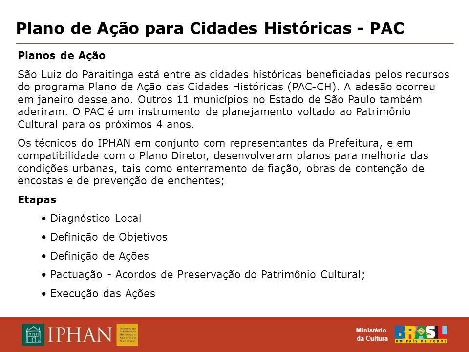 O TOMBAMENTO COMO INSTRUMENTO DE PROTEÇÃO DO PATRIMÔNIO CULTURAL MATERIAL E IMATERIAL Ministério da Cultura Plano de Ação para Cidades Históricas - PA