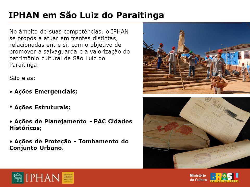 O TOMBAMENTO COMO INSTRUMENTO DE PROTEÇÃO DO PATRIMÔNIO CULTURAL MATERIAL E IMATERIAL Ministério da Cultura Ações Emergenciais Contratação da Empresa Biapó Ltda.