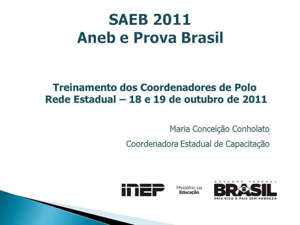 Treinamento dos Coordenadores de Polo Rede Estadual – 18 e 19 de outubro de 2011 Maria Conceição Conholato Coordenadora Estadual de Capacitação