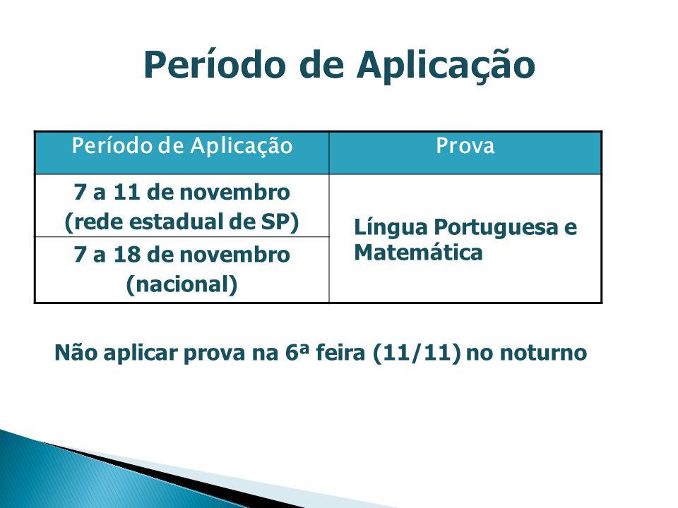 Período de AplicaçãoProva 7 a 11 de novembro (rede estadual de SP) Língua Portuguesa e Matemática 7 a 18 de novembro (nacional) Não aplicar prova na 6